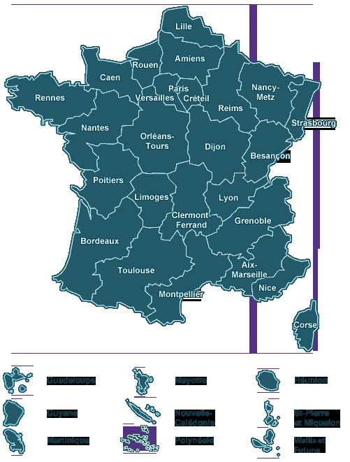 Carte des académies