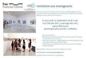Rencontre Enseignants/FRAC Le14 Septembre 2016